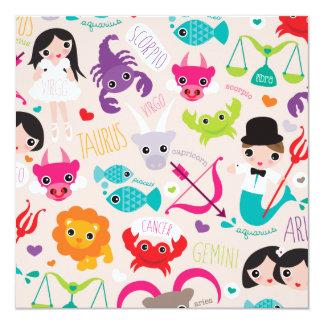 Zodiac signs kids postcard