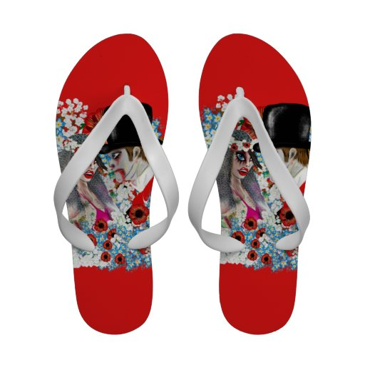 Zombie bride and Groom flipflops! Comic style Sandals