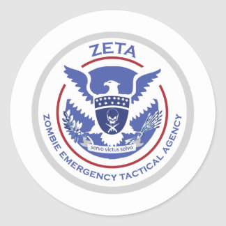 Zombie Emergency Tactical Agency Logo/Seal Classic Round Sticker