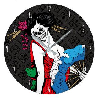 Zombie Geisha Large Clock