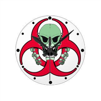 Zombie Green Finger Round Clock