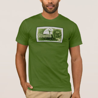 Zombie! Green with black boarder Moon T-Shirt