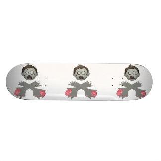 Zombie Head Crossed Arms & Brains Skate Board