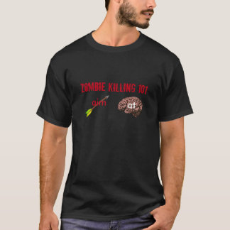Zombie Killing 101 (aim arrow at brain) (mens) T-Shirt