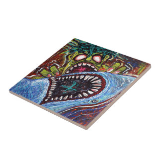 Zombie Shark Fight Small Square Tile