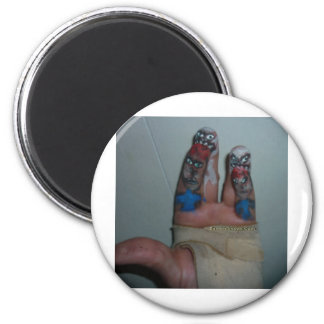 Zombies Eating Brains Funny Zombie Fingers Painted 6 Cm Round Magnet