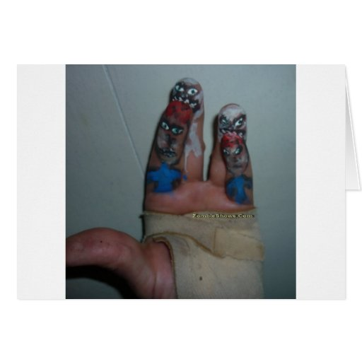 Zombies Eating Brains Funny Zombie Fingers Painted Greeting Cards