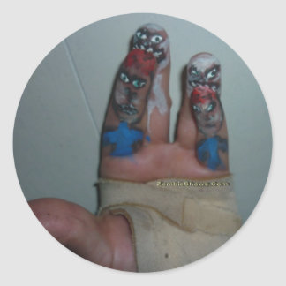 Zombies Eating Brains Funny Zombie Fingers Painted Round Sticker