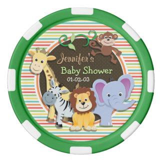 Zoo Animals Baby Shower, Bright Rainbow Stripes Poker Chips