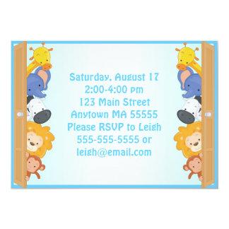 Zoo Animals Blue Boy Birthday Invitation