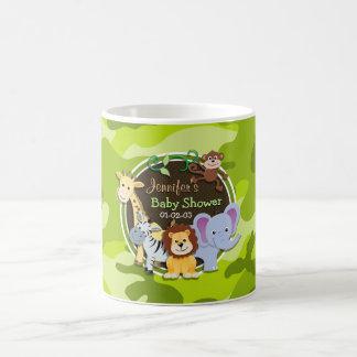 Zoo Animals; bright green camo, camouflage Basic White Mug