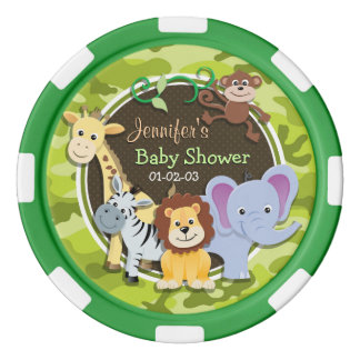 Zoo Animals; bright green camo, camouflage Poker Chips