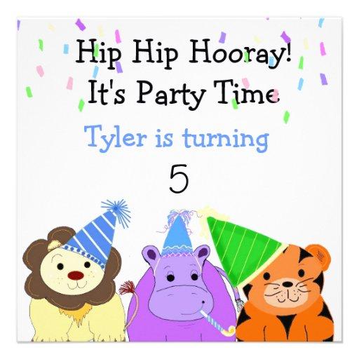 Zoo Animals Party Invitation