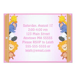 Zoo Animals Pink Girl Birthday Invitation
