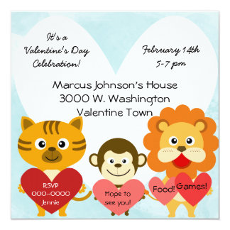 Zoo Animals Valentines Day Party Invitation