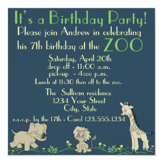 Zoo Themed  Birthday Party 13 Cm X 13 Cm Square Invitation Card