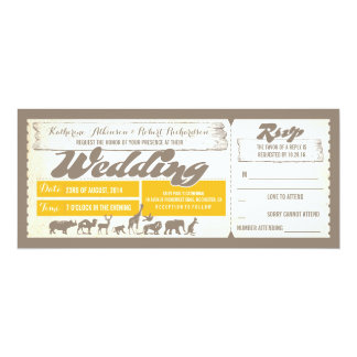 "Zoo wildlife animals wedding invitation tickets 4"" x 9.25"" invitation card"