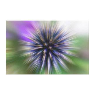 Zoom Flower Purple and Green Digital Art Canvas Print