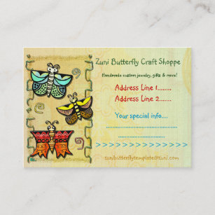 Handmade craft business cards zazzle nz zuni butterfly folk art crafts handmade trading business card colourmoves